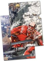 Attack On Titan - Eren, Mikasa & Armin Vs Colossal Titan File Folder (5 Pcs/Pack) Pre-Order