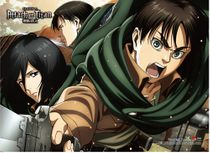 Attack On Titan - Eren, Mikasa & Levi Wall Scroll Pre-Order