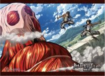 Attack On Titan S2 - Colossal Titan V.S. Eren & Mikasa High-End Wall Scroll Pre-Order