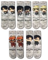 Attack On Titan - Sd Characters 5-Pack Sublimation Socks Pre-Order