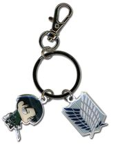 Attack On Titan - Sd Levi And Scout Regiment Emblem Metal Keychain RETIRED