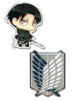 Attack On Titan - Sd Levi & Survey Corps Emblem Metal Pins RETIRED