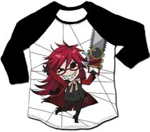 Black Butler - Sd Grell 3/4Th Sublimation Long-Sleeve Raglan XL Pre-Order