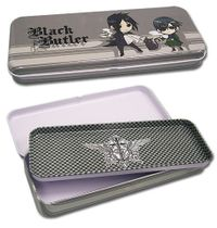 Black Butler Sebastian & Ciel Tin Pencil Case Back Order