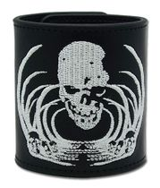 Death Note Skull Embroidery Leather Wristband IN STOCK