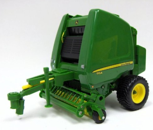 JD 854 Round Baler with Bales 1:16 Scale