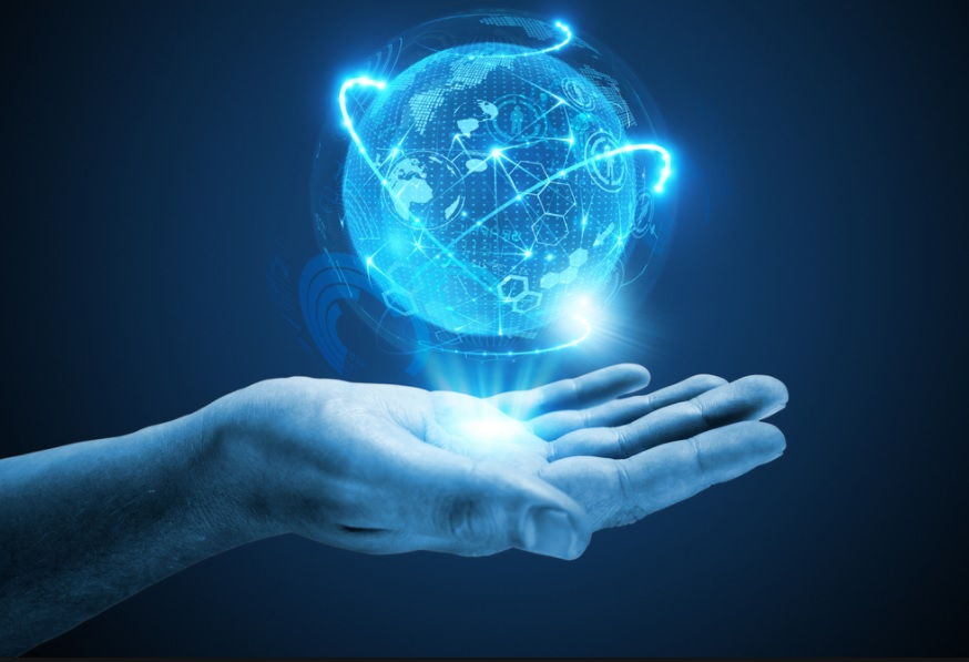 Electronic hand holds the cryptocurrency world in its palm, co-inclusion of currency.