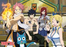 Fairy Tail Group In Front Of Bar Wallscroll Pre-Order