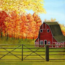 Country Barn in The Fall - Print