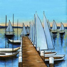 Sailing from Pier - Print