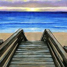 Shore Life Deck Steps - Scrapbook Print