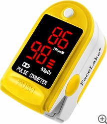 FL400 Fingertip Pulse Oximeter - Blood Oxygen Monitor (Yellow) - with Case