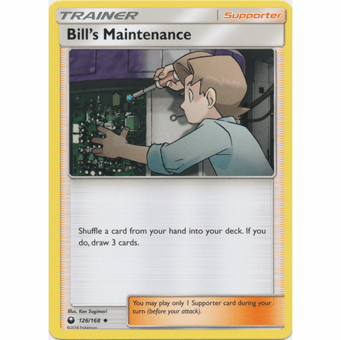 Bill's Maintenance 126/168 Uncommon - Celestial Storm SM7 Pokemon Card
