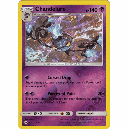 Chandelure - 103/214 (Reverse Foil) Pokemon » SM Lost Thunder HR