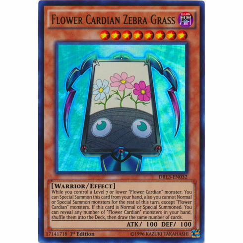 Flower Cardian Zebra Grass DRL3-EN032 Ultra Rare - YuGiOh Dragons of Legend Unleashed Card