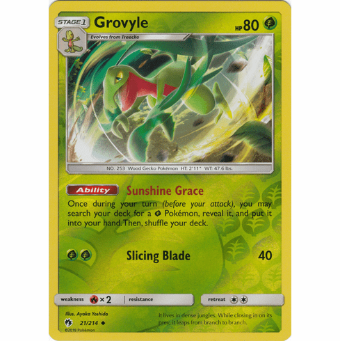 Grovyle - 21/214 (Reverse Foil) Pokemon » SM Lost Thunder Uncommon