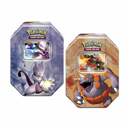 Pokemon 2008 Holiday Collector Level Up Tin Set of both Mewtwo & Rhyperior Tins