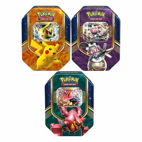 Pokemon Battle Heart Volcanion-EX, Magearna-EX & Pikachu-EX Set of 3 Collector Tins