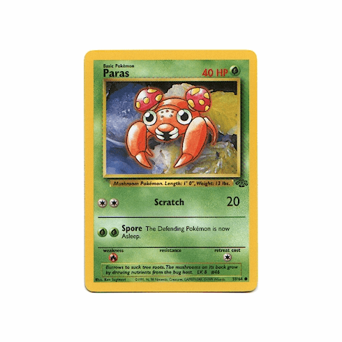 59//64 Paras Pokemon Card From Jungle Set Common Card