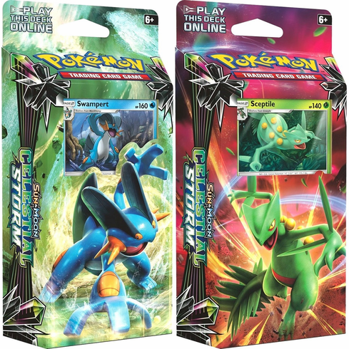 Pokemon Sun & Moon Celestial Storm Sceptile & Swampert Set of Both Theme Decks