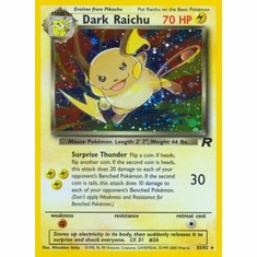 Pokemon Team Rocket Holo Card - Dark Raichu 83/82