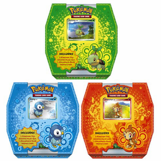 Pokemon Trio Box Set of 3: Green: Turtwig, Red: Chimchar, Blue: Piplup