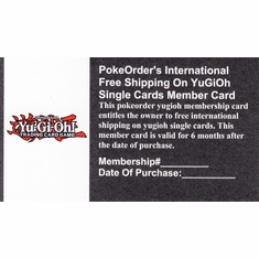 PokeOrder's International Free Shipping On YuGiOh Single Cards Member Card