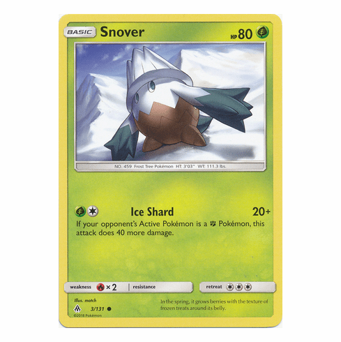 Snover 3/131 Common - Pokemon Sun & Moon Forbidden Light Card