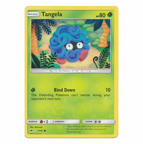 tangela 7 147 common pokemon sun moon burning shadows card