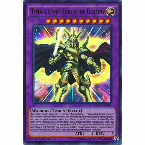 Timaeus the Knight of Destiny DRL3-EN055 Ultra Rare - YuGiOh Dragons of Legend Unleashed Card