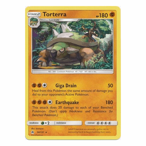 Torterra 58/131 Rare - Pokemon Sun & Moon Forbidden Light Card