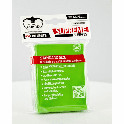 Ultimate Guard Supreme Standard Sized Sleeves - Light Green (80 Card Sleeves)