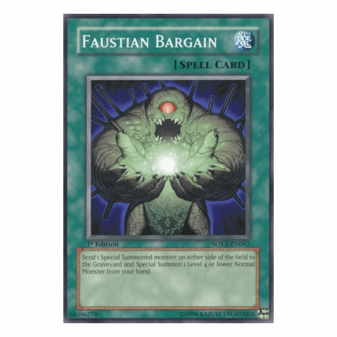 YuGiOh Stardust Overdrive Faustian Bargain SOVR-EN062 Common Single Card