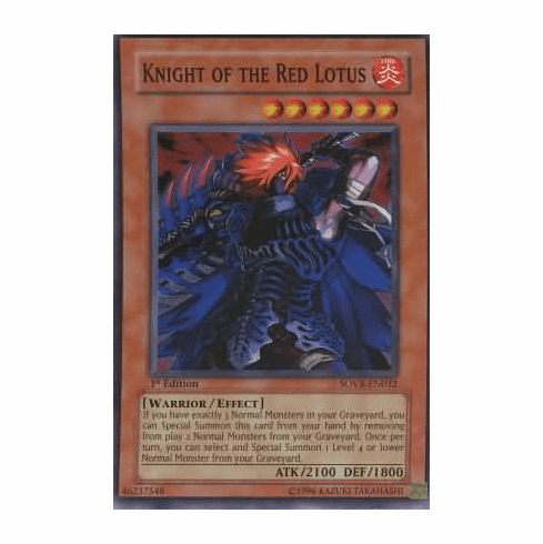 YuGiOh Stardust Overdrive Knight of the Red Lotus SOVR-EN032 Super Rare Single Card