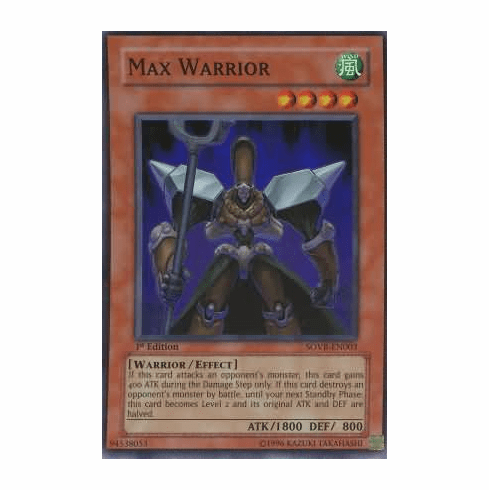 YuGiOh Stardust Overdrive Max Warrior SOVR-EN003 Super Rare Single Card