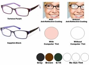 Single Vision Readers with Polycarbonate Aspheric Lenses Style # 76
