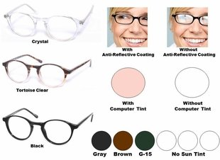 Single Vision Readers with Polycarbonate Aspheric Lenses Style # 77