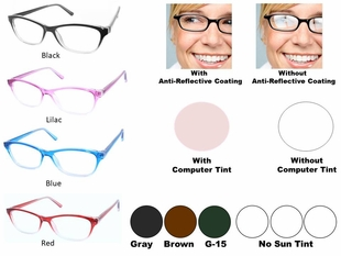 Single Vision Readers with Polycarbonate Aspheric Lenses Style # 85