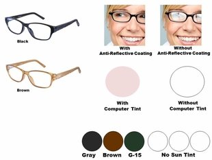 Single Vision Readers with Polycarbonate Aspheric Lenses Style # 86