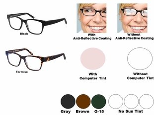 Single Vision Readers with Polycarbonate Aspheric Lenses Style # 89