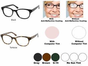 Single Vision Readers with Polycarbonate Aspheric Lenses Style # 92
