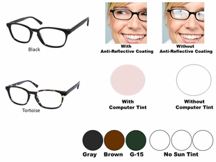 Single Vision Readers with Polycarbonate Aspheric Lenses Style # 94