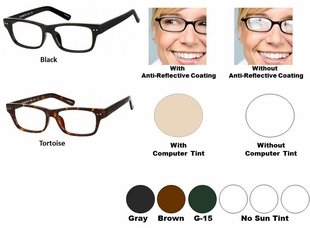Single Vision Readers with Polycarbonate Blue Blocker Lenses Style #67
