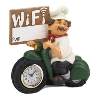 Chef With Wifi Sign and Clock