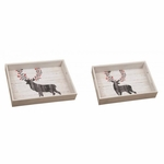 Wooden Reindeer Serving Trays Set of 2