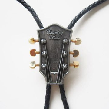 New Jeansfriend Original Western Country Music Guitar Bolo Tie Wedding Leather Necklace