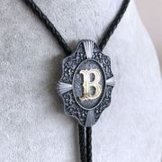 Original Initial Letter B Western Wedding Bolo Tie Leather Necklace