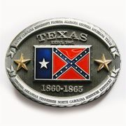 New Vintage Texas Confederate Flag Oval Belt Buckle BUCKLE-FG018