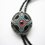 New Classic Vintage Western Southwest Celtic Cross Knot Oval Bolo Tie Wedding Leather Necklace