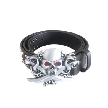 New Gothic Skull Belt Buckle With Black Studded Genuine Leather Belt